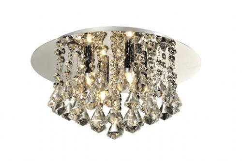 Chloe 4-light Flush Ceiling Fitting, Polished Chrome with Diamond shaped Crystals (036757)